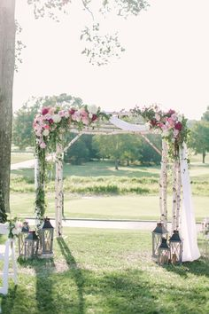 Breathtaking pink and lavender summer wedding - this arch is romantic and elegant and just needs a Galia Lahav couture gown to complete the perfect romantic look. Image: by Love & Light Photographs Mod Wedding, Floral Wedding, Wedding Ceremony, Wedding Arches, Purple Wedding, Perfect Wedding, Dream Wedding, Wedding Things, Summer Wedding Colors