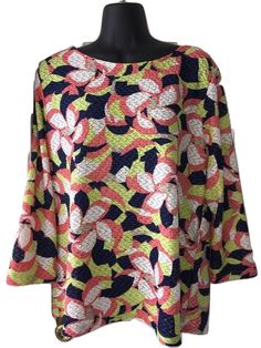 Beautiful Ruby Rd tropical looking mesh like shirt, perfect for summer (colors are neon). Lightweight and breezy for the beach as a cover up. Also works well under a blazer (jackets pictured are sold separately). Made of 98% polyester. Size XL....