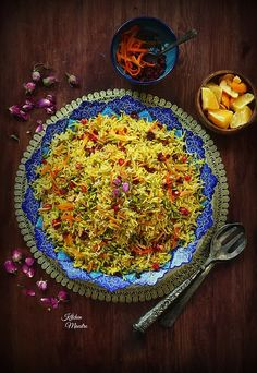 The Royal Rice! this what I think it should be called, this Persian/Iranian rice with its color and mixed dried fruits turned out like a jeweled plate that can be served to a king! Iranian Dishes, Iranian Cuisine, Iranian Food, Arabic Dessert, Arabic Sweets, Arabic Food, Fresh Eats, Indian Dessert Recipes, Food Photography Tips