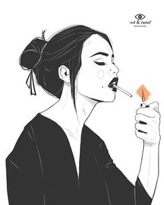 Outline Drawings, Art Drawings, Smoke Painting, Japon Illustration, Japanese Drawings, Black And White Illustration, Ink Illustrations, Japan Art, Aesthetic Art
