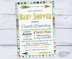 Tribal Baby Shower Invitation Boy Baby Shower by X3designs on Etsy