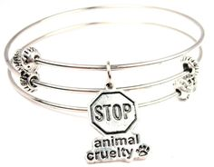 Stop Animal Cruelty Triple Wire Stackable Bangle by Chicaspride, $19.00