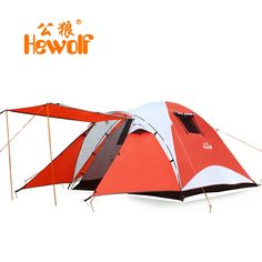 102.99$  Watch now - http://ali4wj.worldwells.pw/go.php?t=2033571470 - Hewolf double layer waterproof camping tent 4 persons large travel family bivvy tourist tente 2 room barraca tenda canopy awning