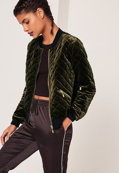 Missguided - Quilted Bomber Jacket Green