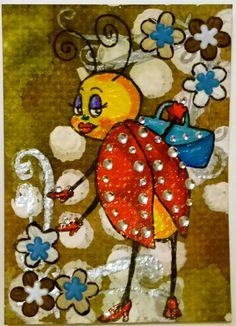 """""""Bling Bug"""" #4 of #365daychallenge #bugaday  textured card stock, gems, distress paints, gesso, acrylic, archival ink, paper flowers, flower brads, atc mixed media"""