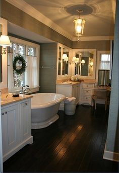 """Must have crown, 5"""" baseboards, chandy and I like the grey wall color. Maybe tile hardwood floor"""