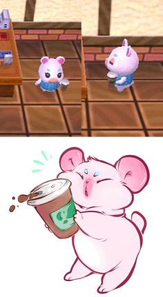 lil Flurry with her lil coffee--cute! I have Flurry in my town and I love her. <3