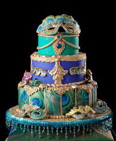 breathtaking peacock masquerade cake