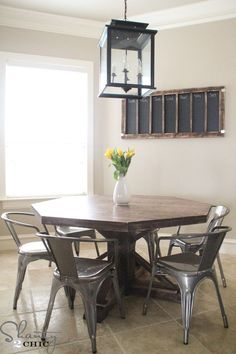 DIY Octagon Dining Room Table...with a farmhouse base. (Seats 8 ...