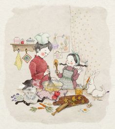 brother, girl, and illustration image Pretty Drawings, Art Drawings, Belle And Boo, Buch Design, Korean Artist, Cute Images, Children's Book Illustration, Whimsical Art, Cat Art