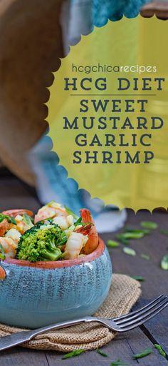 P2 hCG Diet Seafood Recipe: Sweet Mustard Garlic Shrimp w/ Broccoli or Asparagus - 179 calories - hcgchicarecipes.com - protein + veggie meal| #hcg #hcgdiet #hcgrecipes #hcgdietrecipes #p2hcgrecipes #phase2hcgrecipes #p2hcgdiet #phase2hcgdiet