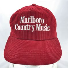 a1149f178be Vintage Marlboro Country Music Red Corduroy Hat Cap Adjustable Snapback