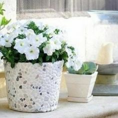 Haz tus propias macetas de diseño con adornos de yeso y piedras naturales, para decorar tu jardín o patio.Puedes utilizar latas en desuso, algún tacho o iniciar el proyecto con macetas plásticas. Recuerda que si vas a plantar sobre la misma, es importante que la base tenga unos agujeritos para el drenaje.  Cómo hacer macetas decoradas con yeso y piedras naturales: Elementos: - 1 lata grande, recipiente o maceta plástica - 1 malla plástica - Yeso - Piedritas naturales - Esponja 1. El ...
