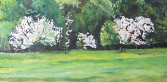 http://francoisfournierart.com/    This painting depicts a serie of wild apple trees blooming along the edge of a forest.  Fournier Appalachian Landscape Oil Painting by Fournierpainter, $1750.00