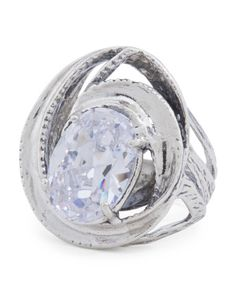Made In Israel Sterling Silver Swirl Cubic Zirconia Ring