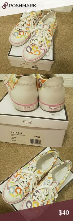 Coach sneakers Multicolored coach sneakers. Some scuff marks on rubber soles. Gently worn. Coach Shoes Sneakers