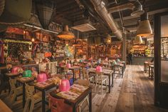The interior designers from JMDA have created an interior 'as authentic as possible' for the new 'street food' Thai restaurant chain with an eclectic mixture of bespoke lighting from Northern Lights.