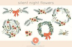Winter Clip Art Flowers and Wreaths by Citrus and Mint on @creativemarket