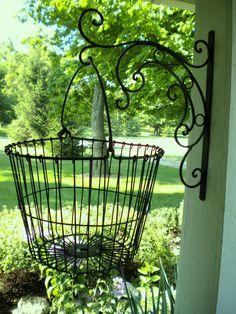 Old wire egg basket add a country look. Wire Basket Decor, Wire Egg Basket, Basket Decoration, Wire Baskets, Backyard Fences, Chickens Backyard, Backyard Ideas, Garden Basket, Landscaping Software