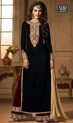 Classical Embroidered And Resham Work Velvet Designer Suit  Appear stunningly beautiful in such a black velvet designer suit. The ethnic embroidered and resham work to the attire adds a sign of attractiveness statement with your look. Comes with matching bottom and dupatta.