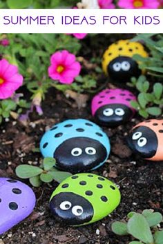 Painted rocks crafts for the kids this summer - See more summer crafts and activities on this page