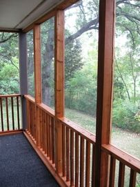 stain inside of the screened porch? Outdoor Rooms, Outdoor Living, Outdoor Decor, Outdoor Ideas, Screened In Patio, Pergola Patio, Backyard Landscaping, Front Porch, Porch Plans