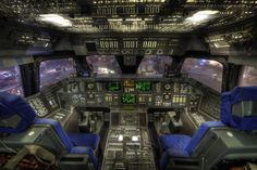 "Shuttle Cockpit, Houston; photograph by Dave Wilson. The cockpit of the mock-up Space Shuttle Orbiter ""Adventure"" inside Space Center Houston, Texas."