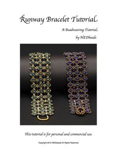 """""""Runway Bracelet"""" Tutorial by NEDbeads on Etsy, $10.00. Techniques used in this tutorial include picot, right angle weave and embellishment. Materials needed for this project include Twin beads, size 11 seed beads, size 15 seed beads, 4mm crystals and an SS39 8mm chaton crystal."""