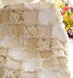 white/cream/beige rag quilt - inspiration only - this is item for sale, but wouldn't this be a lovely quilt for a wedding gift? ************************************************ (repin) - #rag #quilt