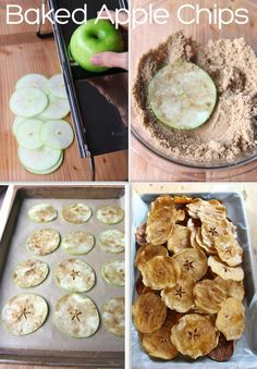 Baked apple chips  These apple chips are made by simply slicing apples very thinly on a mandoline, dusting with a little brown sugar and cinnamon and baking very slowly in a low oven for two hours, flipped the slices once after an hour.   They end up becoming these nicely dehydrated, crispy sweet apple chips that delicious to eat.  You will love them.
