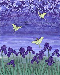 violet night - signed fine art print 8X10 inches, luna moth stars irises on Etsy, $18.00