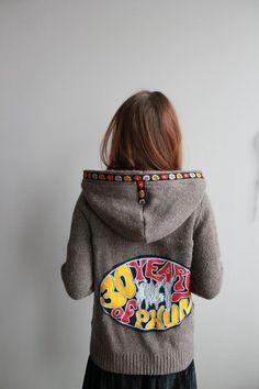 Phish 30 Years of Phun Brown Knit Sweater Upcycled Hoodie