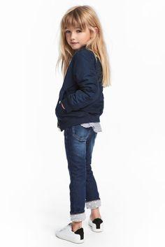Slim Lined Jeans - ダークデニムブルー - キッズ | H&M JP