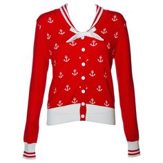 Banned Sailor Cardigan (Red/White) M