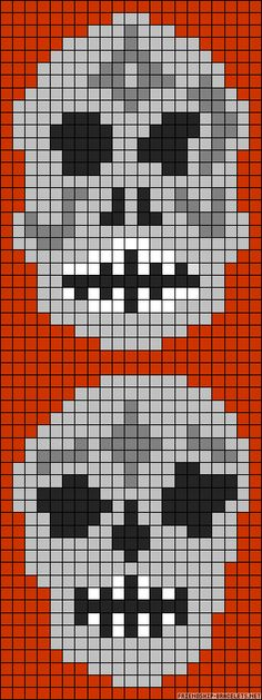 Halloween skulls perler bead pattern