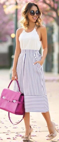 #summer #scallop #trend #outfits |  White Scallops + Blue Stripes