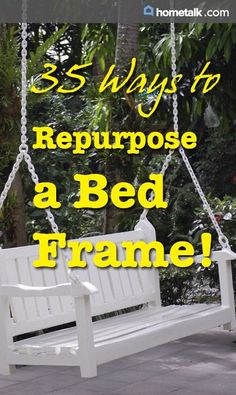 DIY:: 35 Beautiful Re-purposed Bed Frame Projects ! These all would Make Gorgeous Farmhouse Styled Decor For Little to No Cost ! (Separate Tutorials for all) Furniture Projects, Furniture Makeover, Home Projects, Diy Furniture, Old Bed Frames, Old Beds, Repurposed Items, Trash To Treasure, Repurposed Furniture