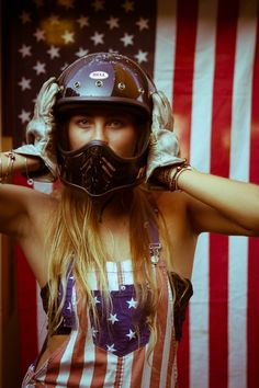 Merica themed photos of a pretty girl and a motorcycle by photographer Kevin Roche. Riding Gear, Riding Helmets, Scooters, Biker Dating, Pin Up, Vintage Helmet, Flag Photo, Young Americans, Biker Girl