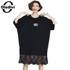 Oladivi 2017 Women Lace Dress Spring Casual Solid Black Plus Size Clothing Female Batwing Sleeve Loose Style Shirt Dresses Tunic