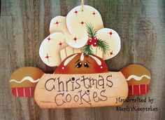 Handpainted  Christmas Cookie Ornament by stephskeepsakes on Etsy, $6.50