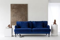 Scandinavian Minimalism / Industrial Chic inspired living room / Velvet sofa / White walls / Neutral accents / IKEA Stocksund couch with a Bemz Simply Velvet slipcover in Deep Navy Blue Furniture, Scandinavian Minimalist Living Room, Ikea Stocksund, Best Ikea, Ikea Hack, Minimalist Living Room, Stocksund Sofa, Ikea, Ikea Sofa