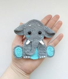 PATTERN Elephant Applique Crochet Pattern PDF Jungle Animal Pattern Safari Animal Pattern Instant Download Motif Ornament Baby Blanket ENG