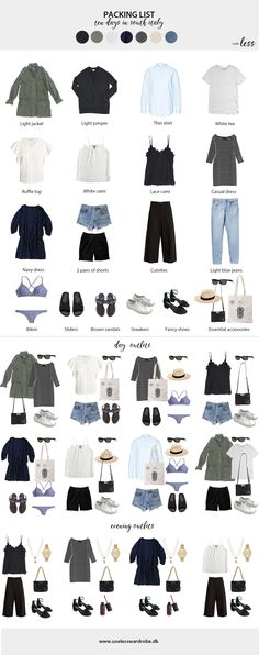 Packing light for a ten day summer trip in South Italy - july 2018. #minimalist #packing #list #minimalism #capsule #travelcapsule