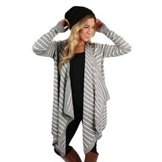 You'll be happy in stripes in this lovely cardi! We love the flowy fit and soft material!