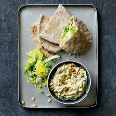 Courgette & spicy houmous pittas