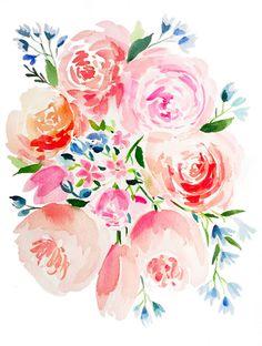 Pink and Blue Garden Bouquet – Watercolor Print   April Preston Design