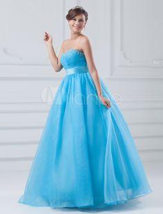 c6b17c794d2 Organza Prom Dress Aqua Sweetheart Ball Gown Quinceanera Dress Beading  Empire Waist Floor Length Occasion Dress