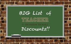 Teacher Discounts and Home School Educator Discounts…