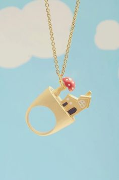 At Home Ring with polka dot house little mushroom and a by Napakas, $30.00