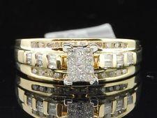 Ladies 10K Yellow Gold Princess & Round Cut Diamond Engagement Ring Wedding Band